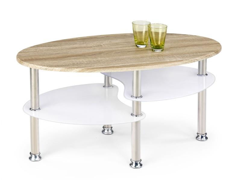 Konferenční stolek SUNDA, bílá/dub sonoma
