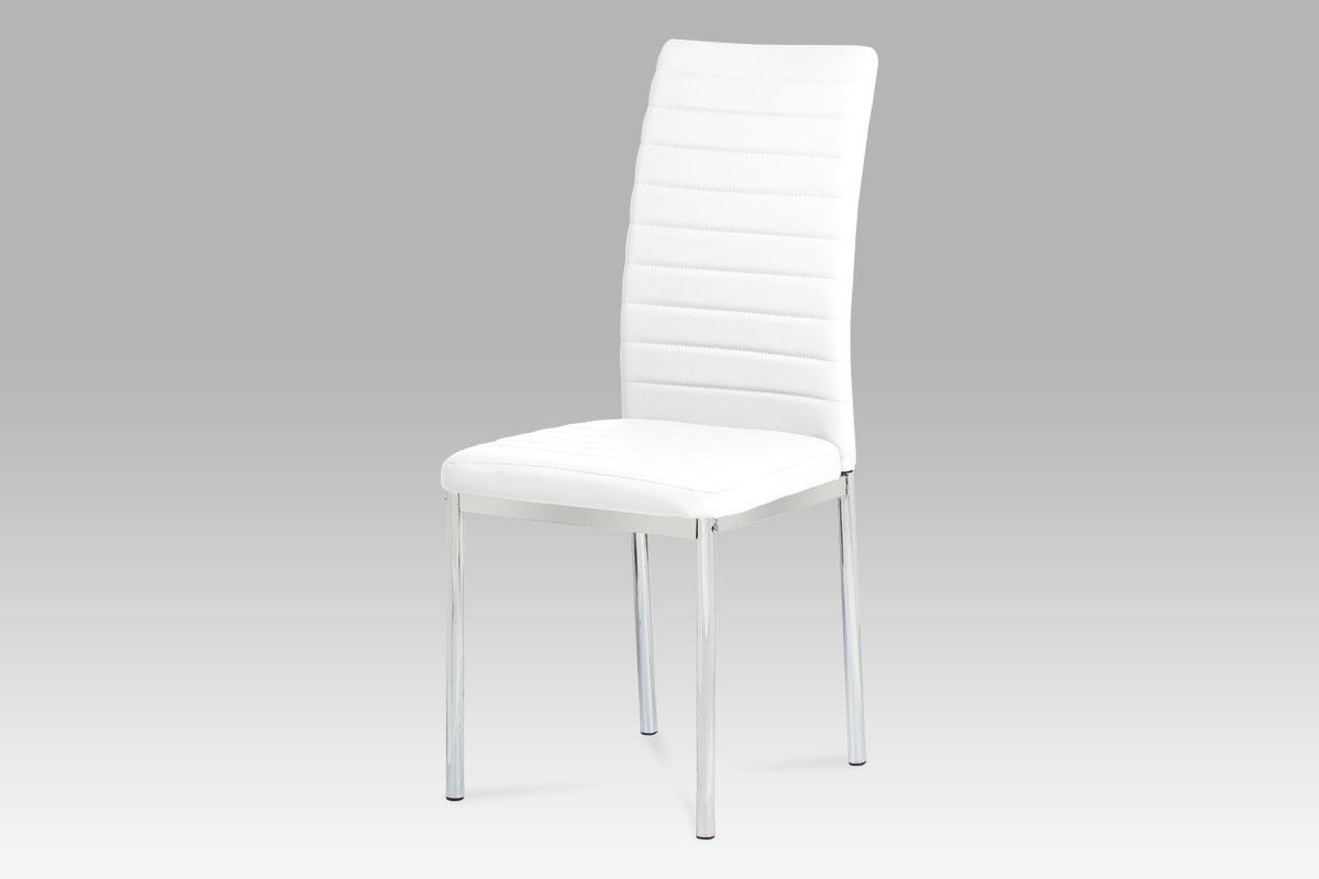 Autronic Jídelní židle, koženka bílá / chrom AC-1285 WT