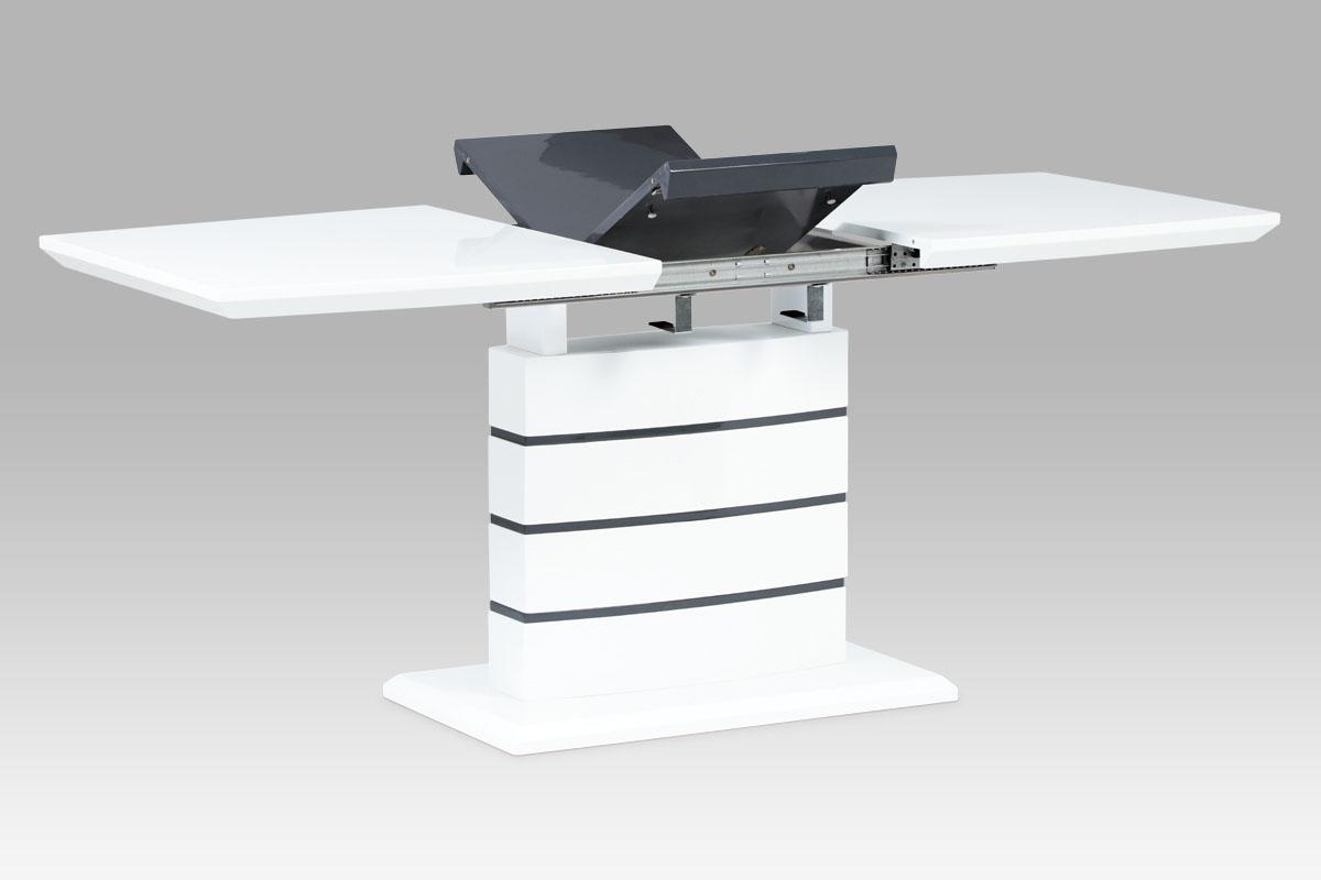 Smartshop Jídelní stůl 140+40x80, vysoký lesk bílý/šedý SHT-410 WT