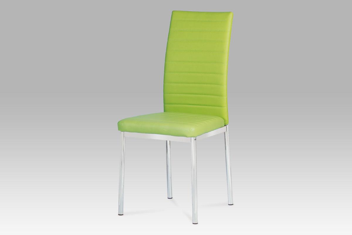 Autronic Jídelní židle, koženka zelená / chrom AC-1285 LIM