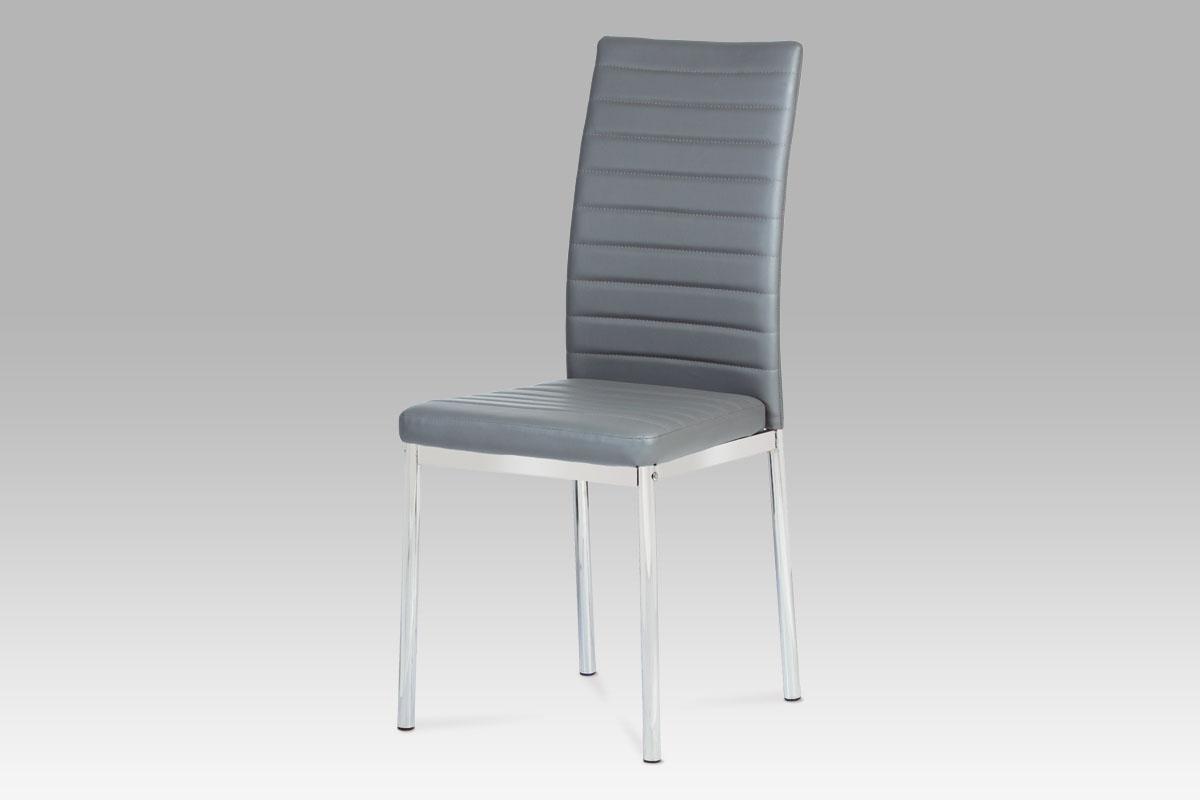 Autronic Jídelní židle, koženka šedá/ chrom AC-1285 GREY