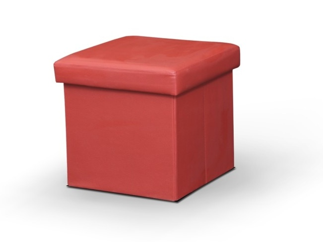 TEMPO KONDELA Tela červená taburetka, ekokůže
