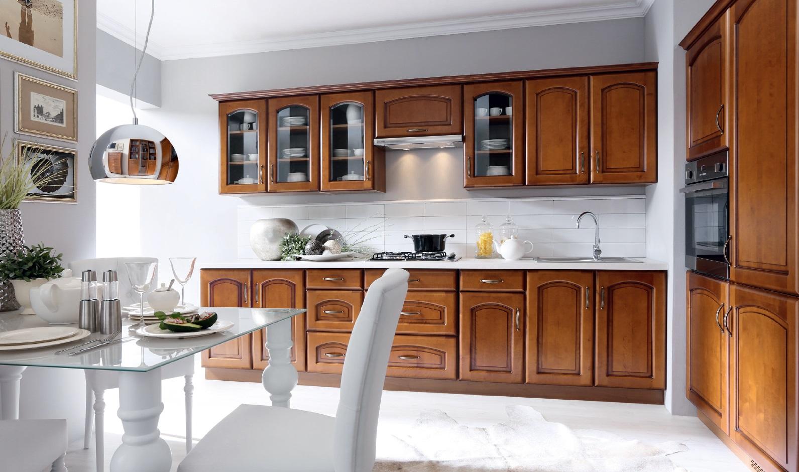 Rohová kuchyně MELOS, VZOROVÁ SESTAVA, bříza orange