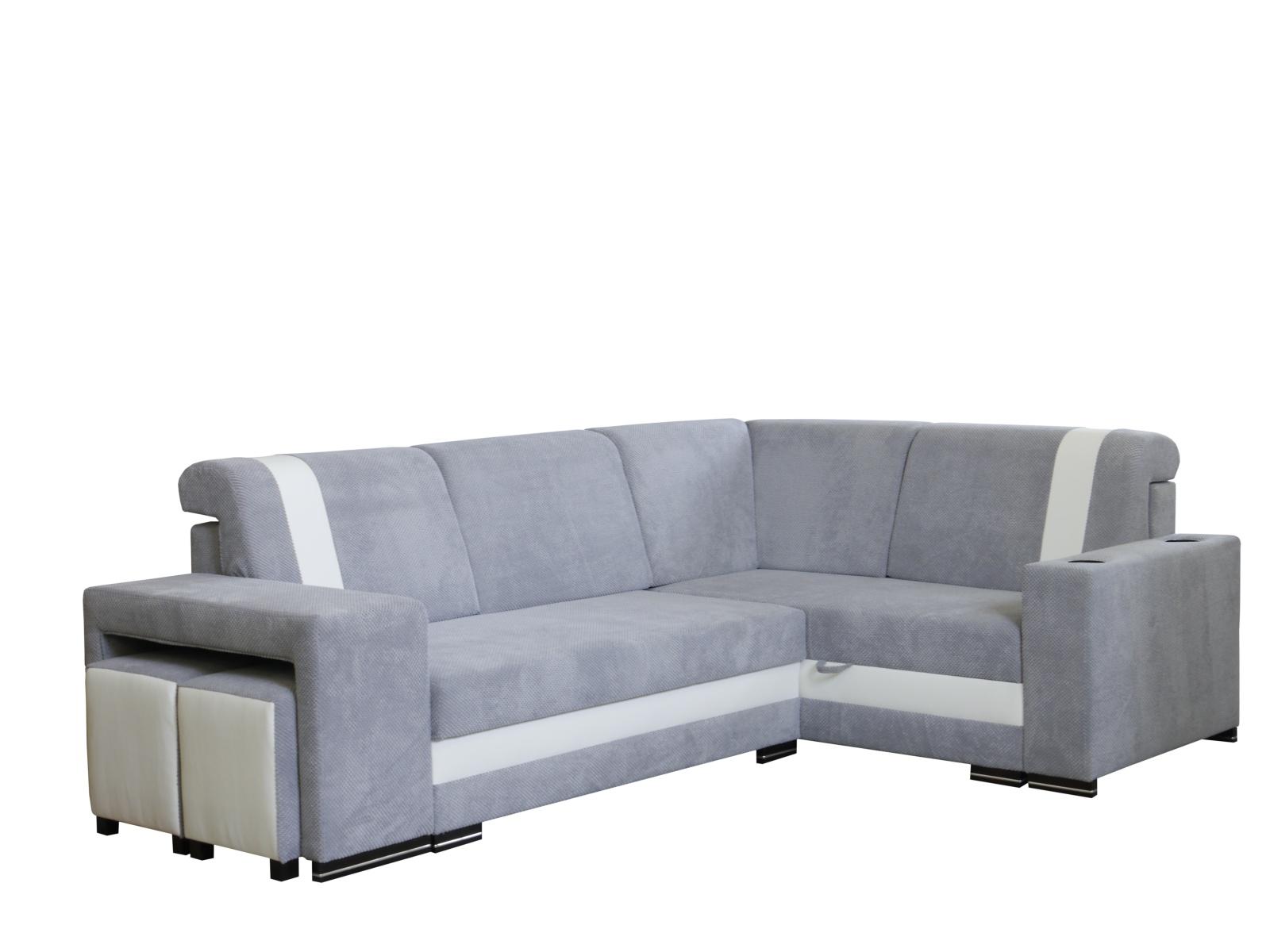 Smartshop Rohová sedačka INES NEW 3, pravá, šedá/bílá