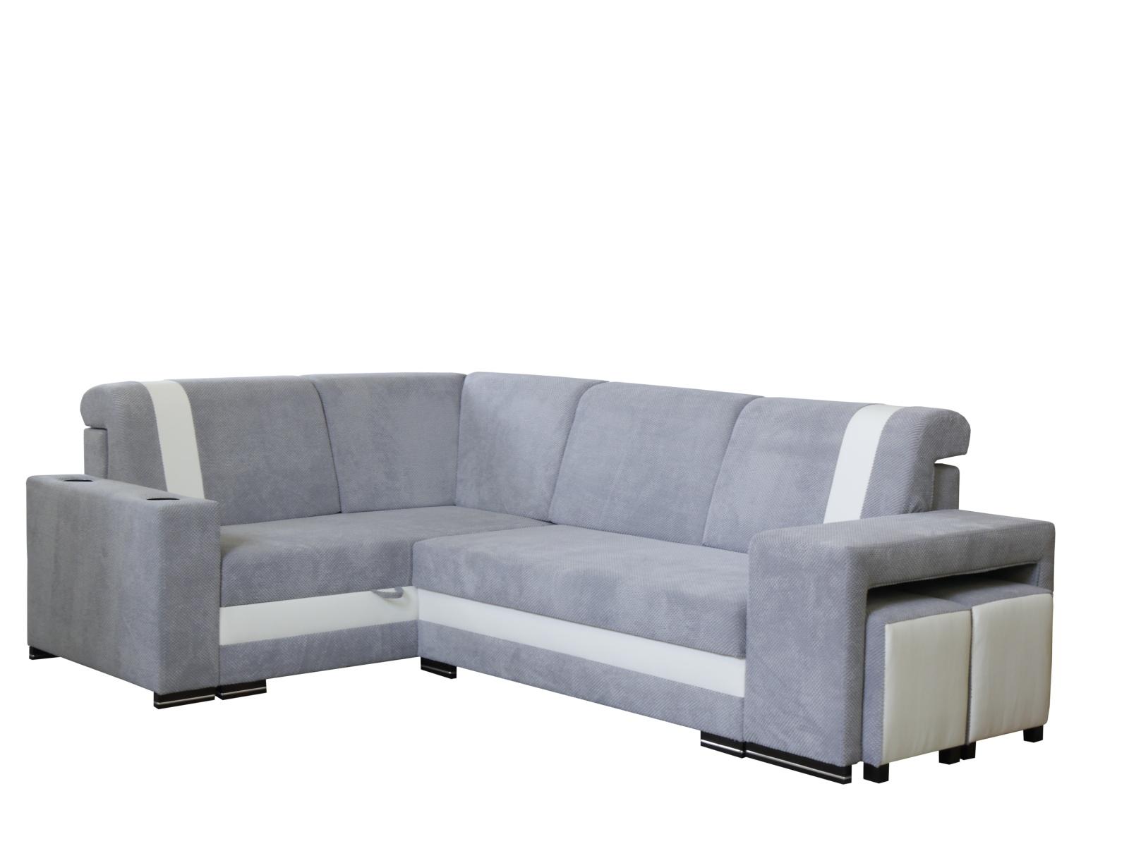 Smartshop Rohová sedačka INES NEW 3, levá, šedá/bílá