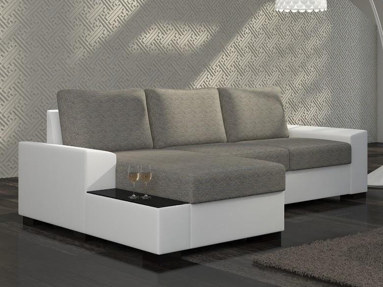 ELTAP Rohová sedačka NEGRO 14 levá, šedá látka/bílá ekokůže