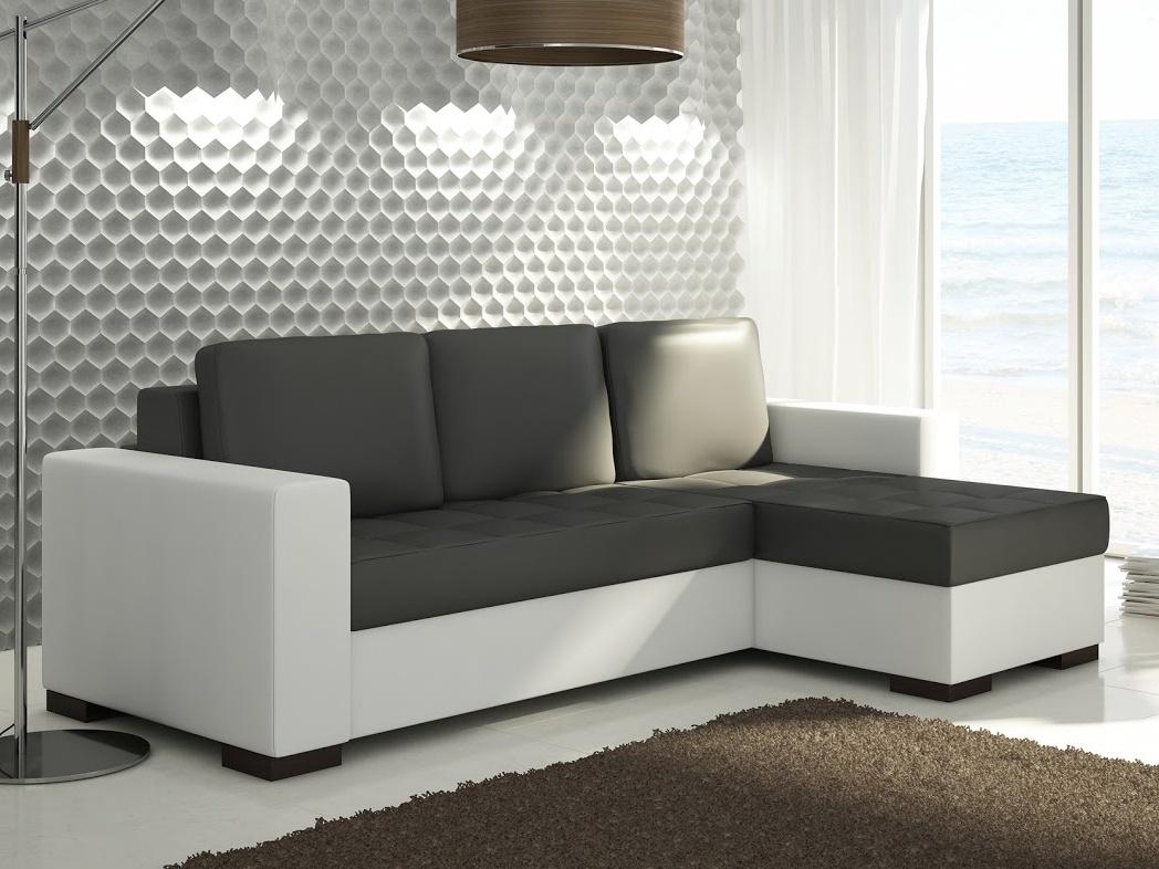 ELTAP Rohová sedačka NEWARK 02, černá/bílá