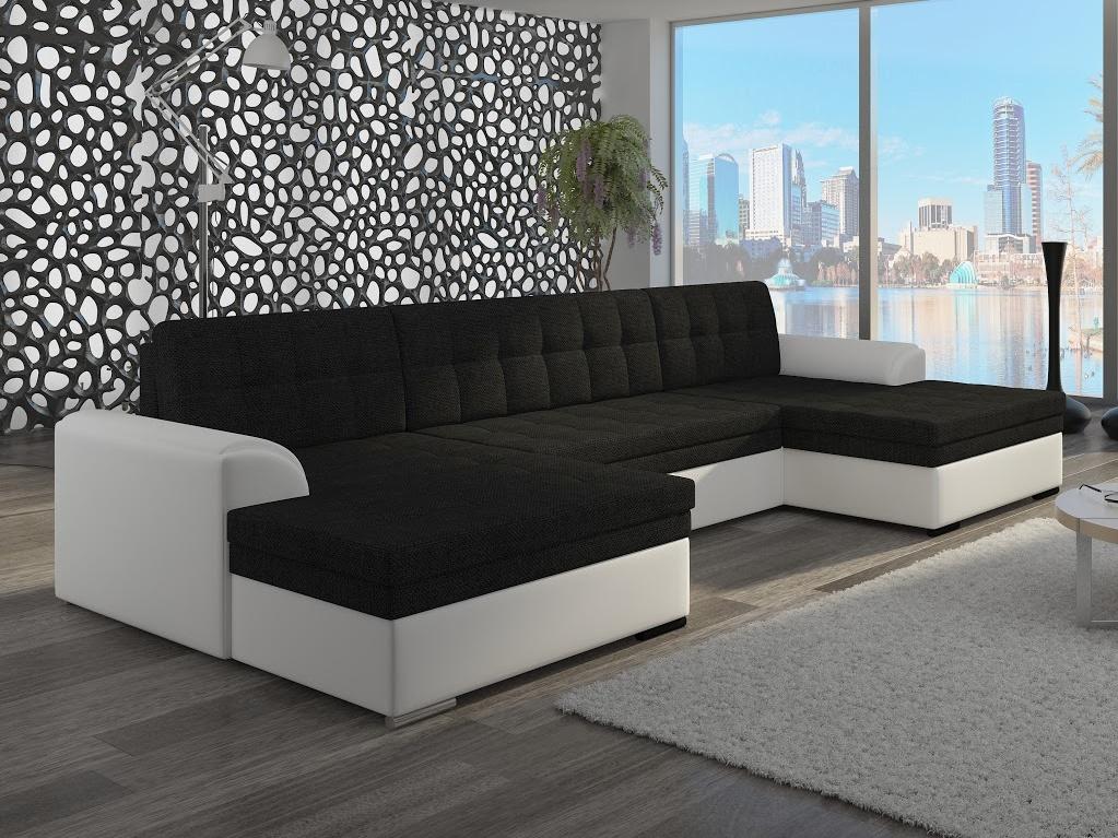 ELTAP Rohová sedačka VENTO 07, černá ekokůže/bílá ekokůže