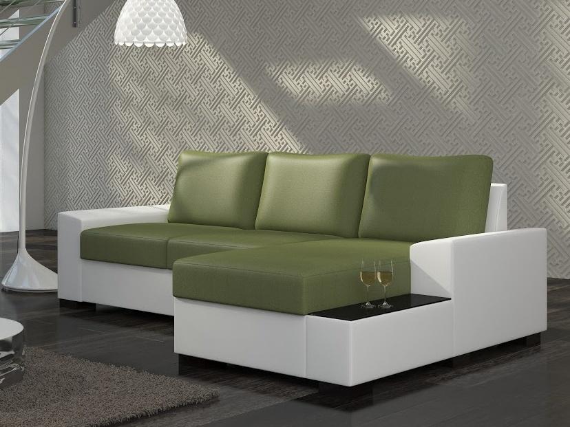 ELTAP Rohová sedačka NEGRO 02 pravá, zelená látka/bílá ekokůže