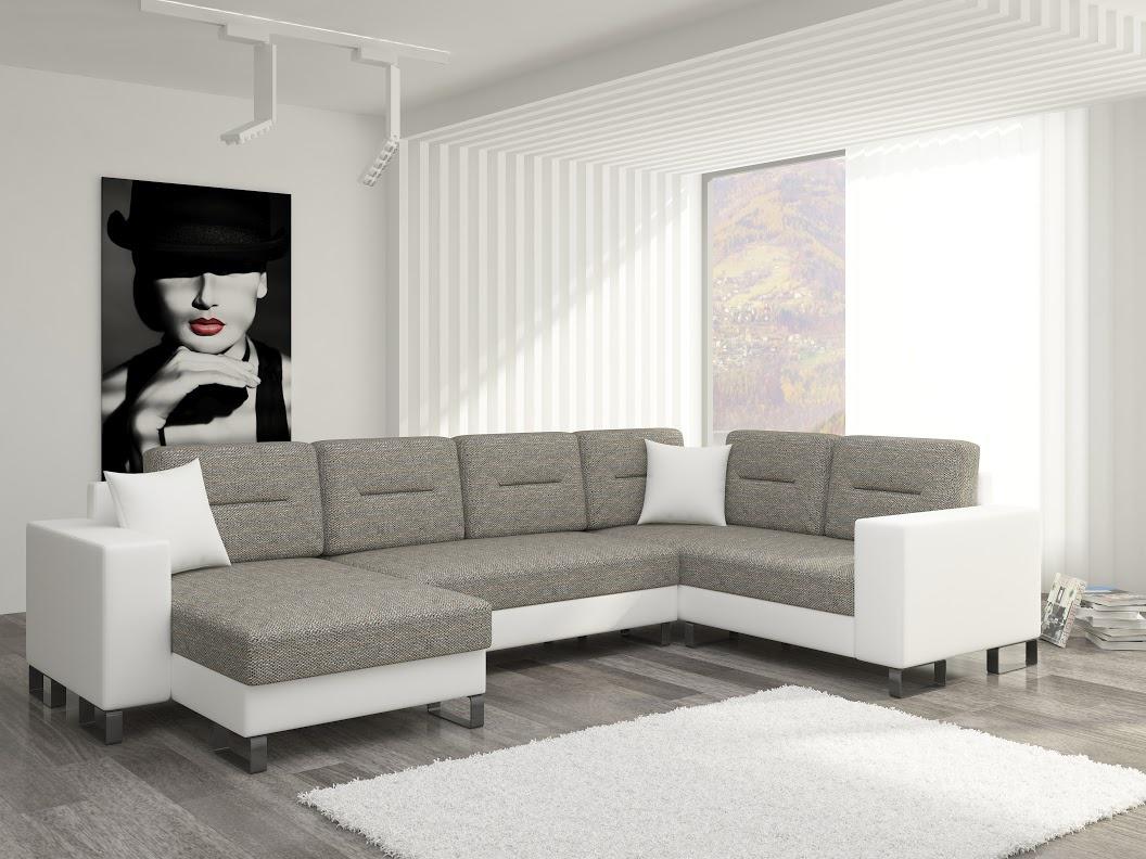 ELTAP Rohová sedačka DORADO 09 levá, šedá látka/bílá ekokůže