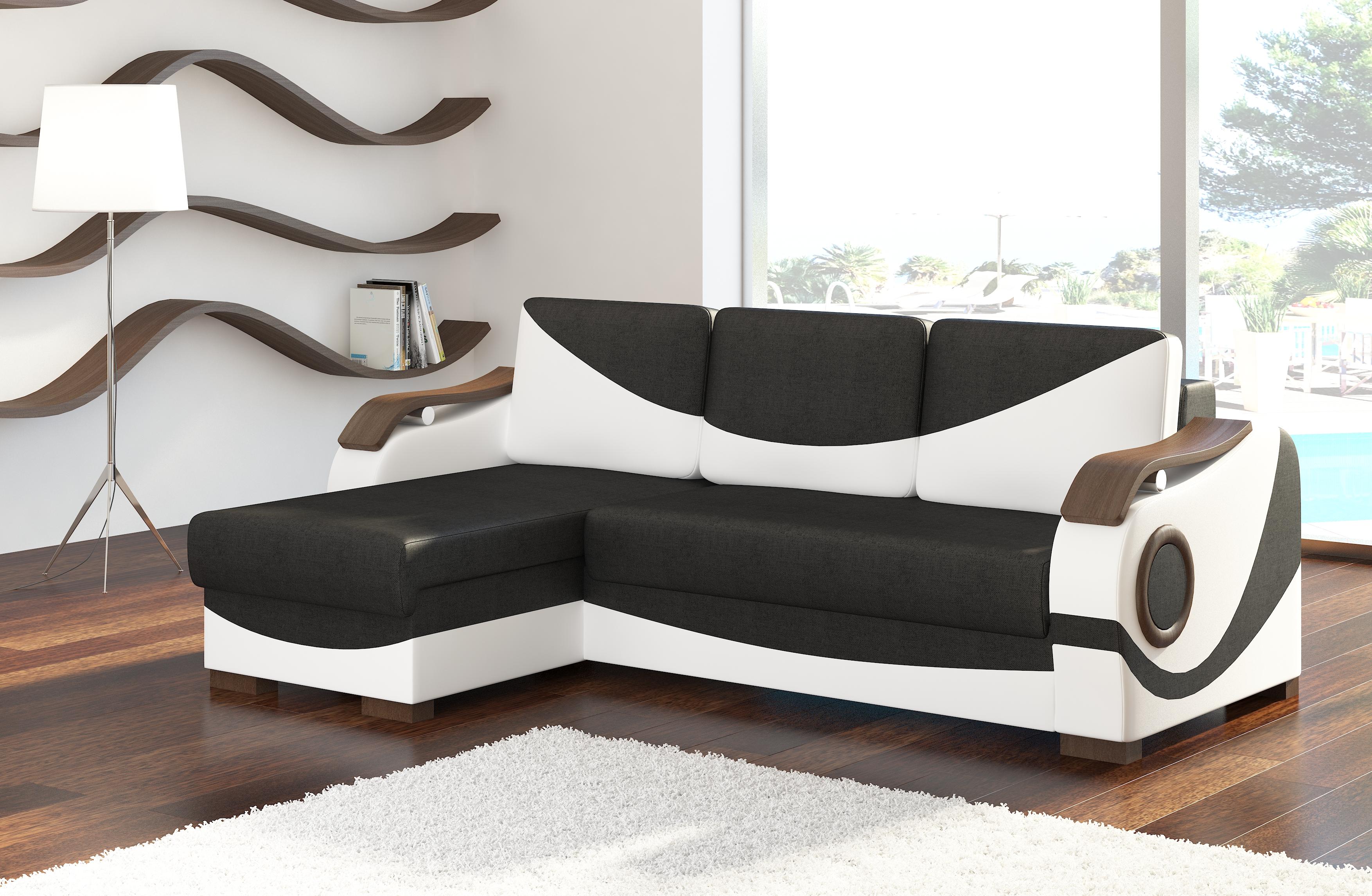 ELTAP Rohová sedačka PUERTO 01, černá látka/bílá ekokůže