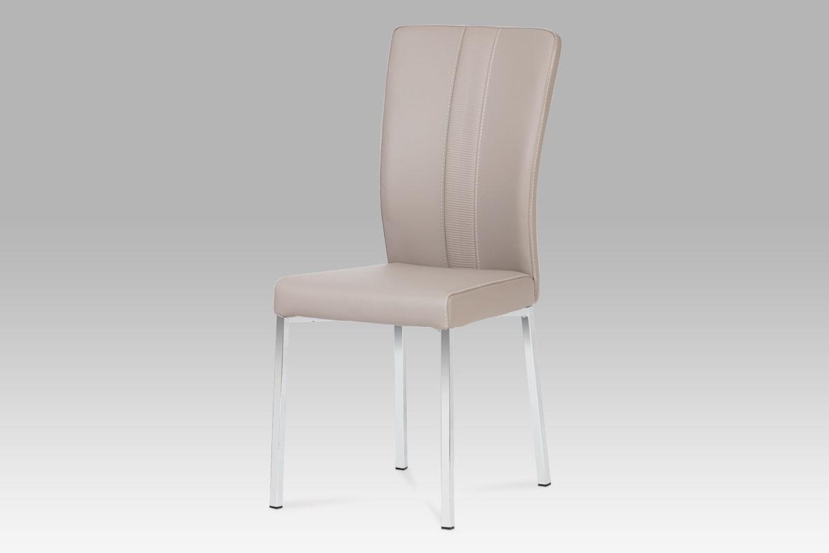 Autronic Jídelní židle, chrom / koženka lanýžová HC-602 LAN