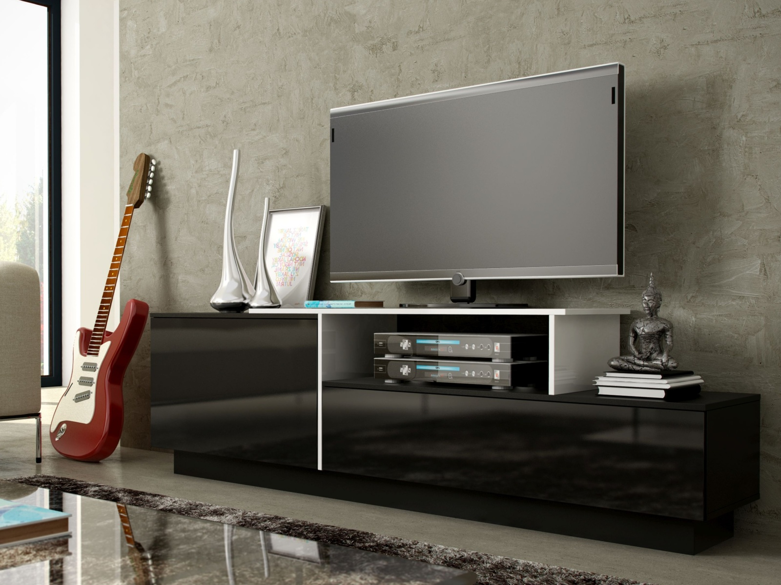Televizní stolek RTV SYGMA 3C, bílá/černá