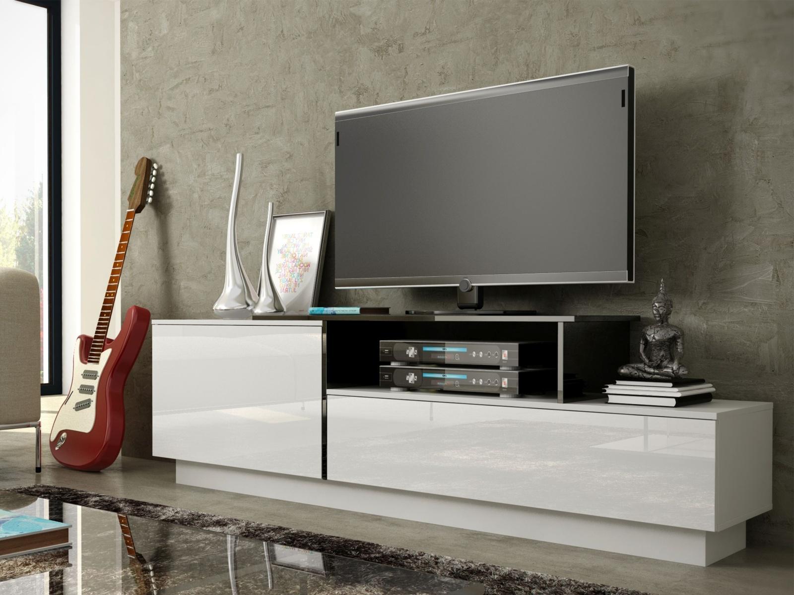 Televizní stolek RTV SYGMA 3A, bílá/černá