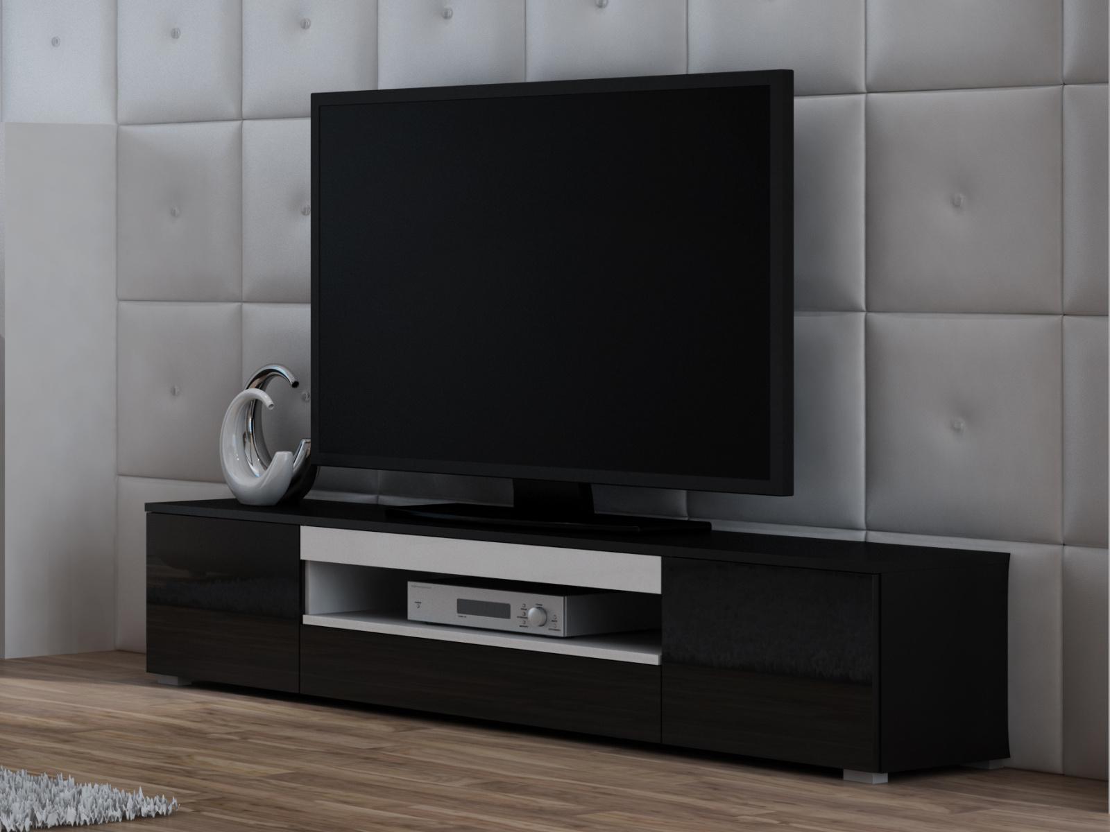 Televizní stolek RTV WIVA, černá/bílá