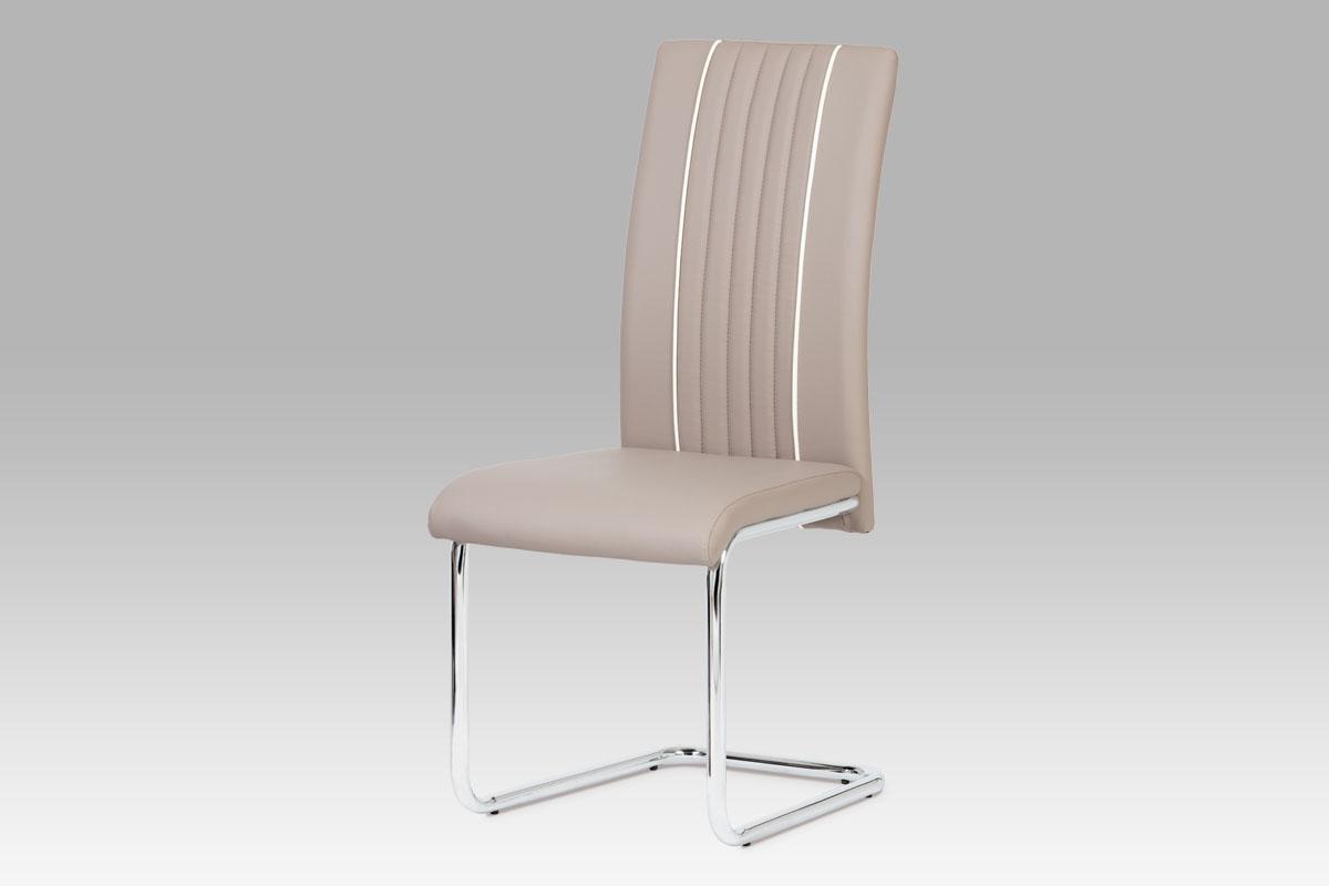 Autronic Jídelní židle, chrom / koženka lanýžová DCL-817 LAN