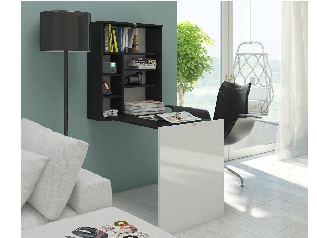 MORAVIA FLAT Psací stůl HIDE, černá/bílý lesk