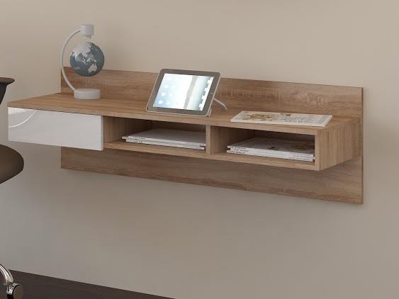 MORAVIA FLAT Designový psací stůl UNNO, dub sonoma/bílý lesk