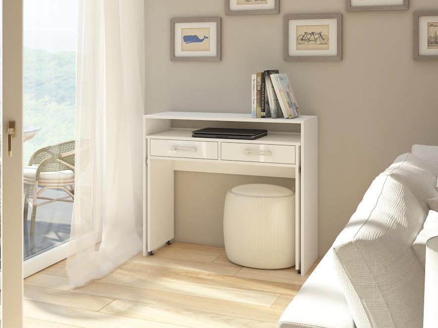 MORAVIA FLAT Psací stůl ZOOM, bílá/bílý lesk