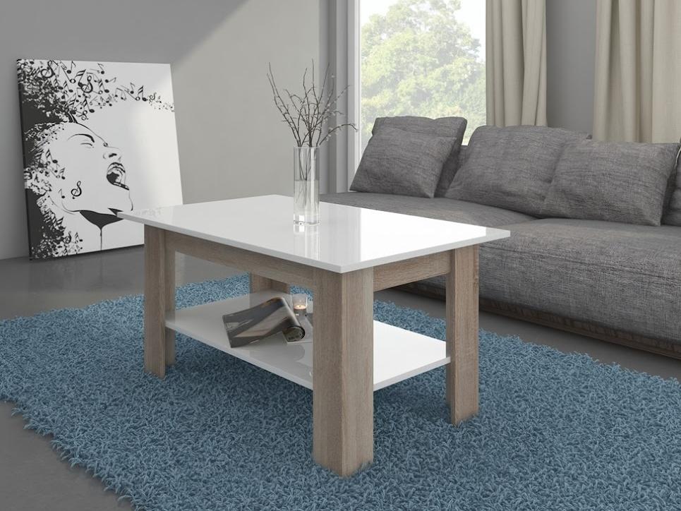 MORAVIA FLAT Konferenční stolek ELAIZA, dub sonoma/bílý lesk