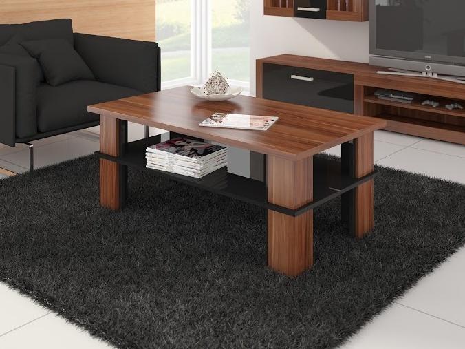 MORAVIA FLAT Konferenční stolek FUTURA 2, švestka wallis/černý lesk