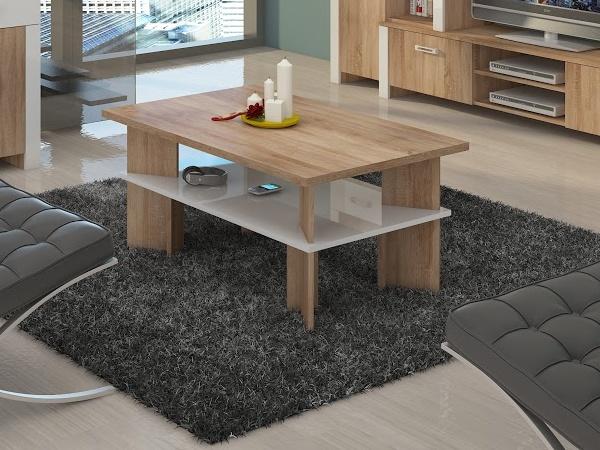 MORAVIA FLAT Konferenční stolek VECTRA 2, dub sonoma/bílý lesk