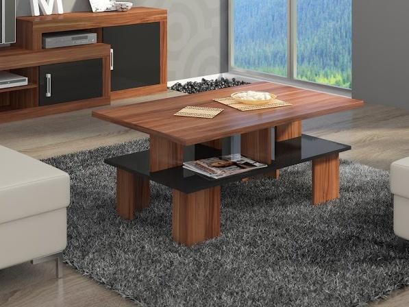 MORAVIA FLAT Konferenční stolek SUPRA 2, švestka wallis/černý lesk