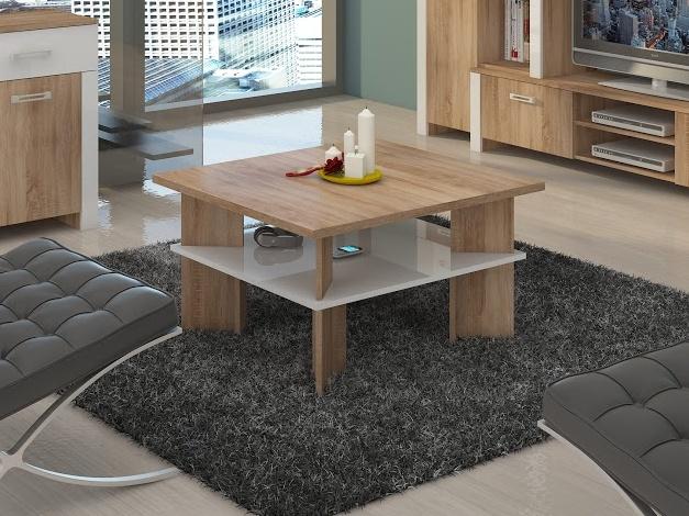 MORAVIA FLAT Konferenční stolek VECTRA 1, dub sonoma/bílý lesk