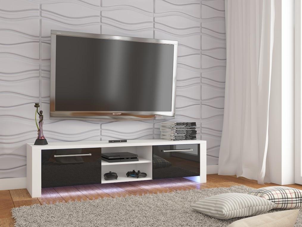 MORAVIA FLAT TV stolek HELIX NEW, bílá/černý lesk