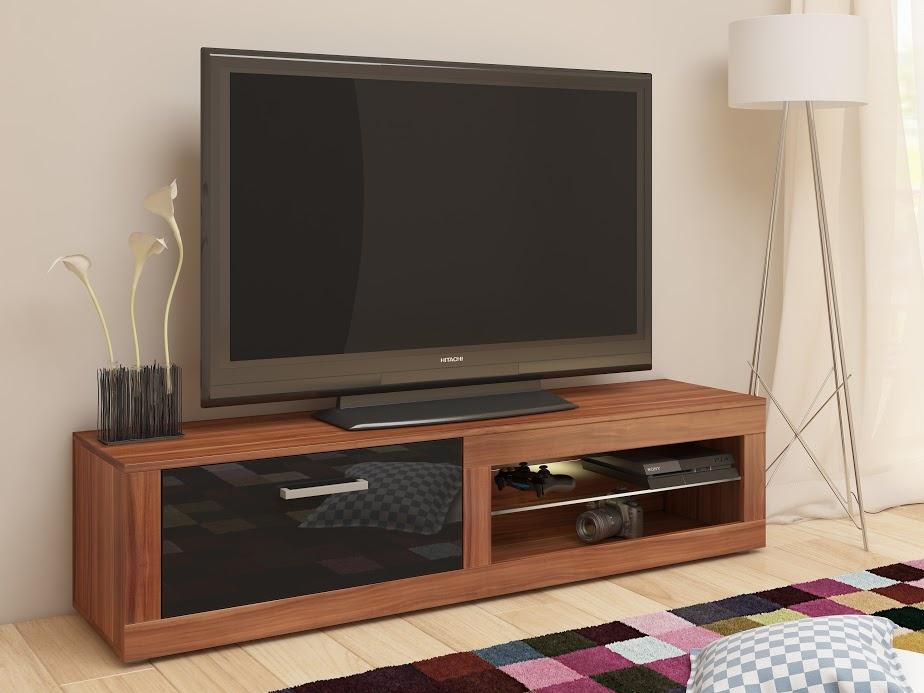 TV stolek VIKY NEW, švestka wallis/černý lesk