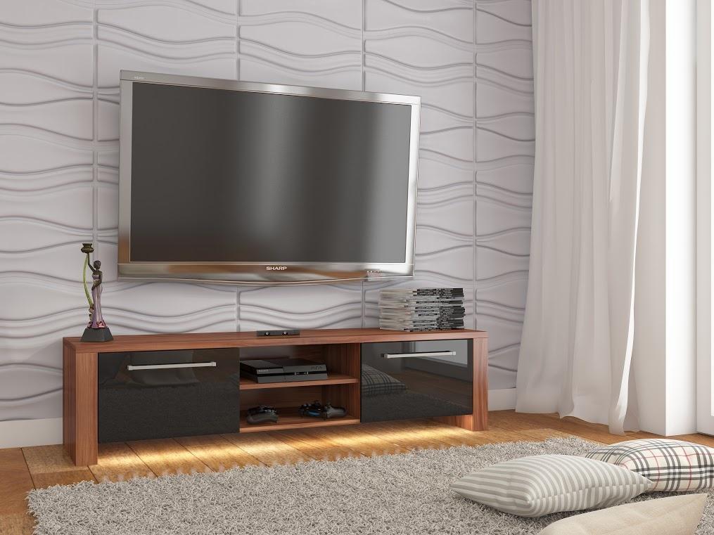 MORAVIA FLAT TV stolek HELIX NEW, švestka wallis/černý lesk