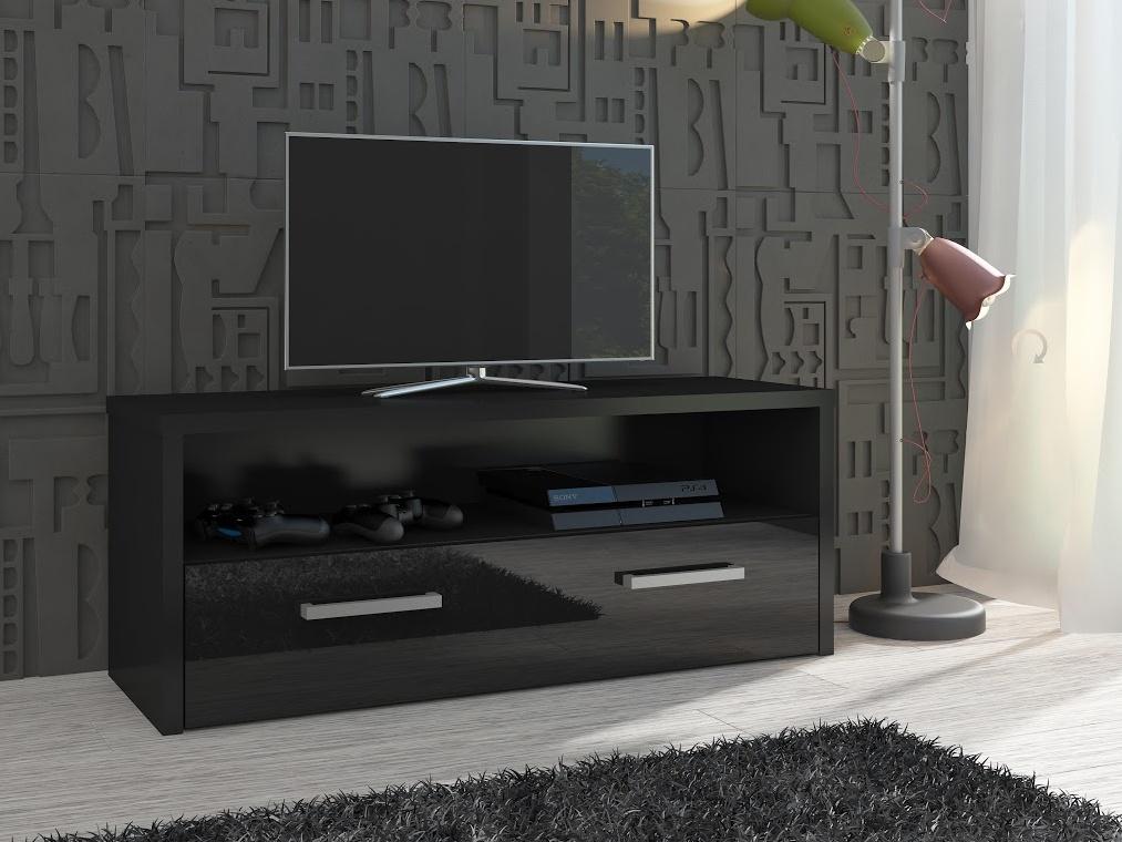 TV stolek TIRANA, černá/černý lesk