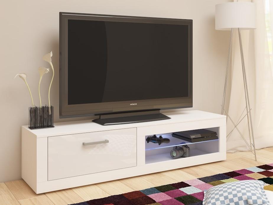 MORAVIA FLAT TV stolek VIKY NEW, bílá/bílý lesk