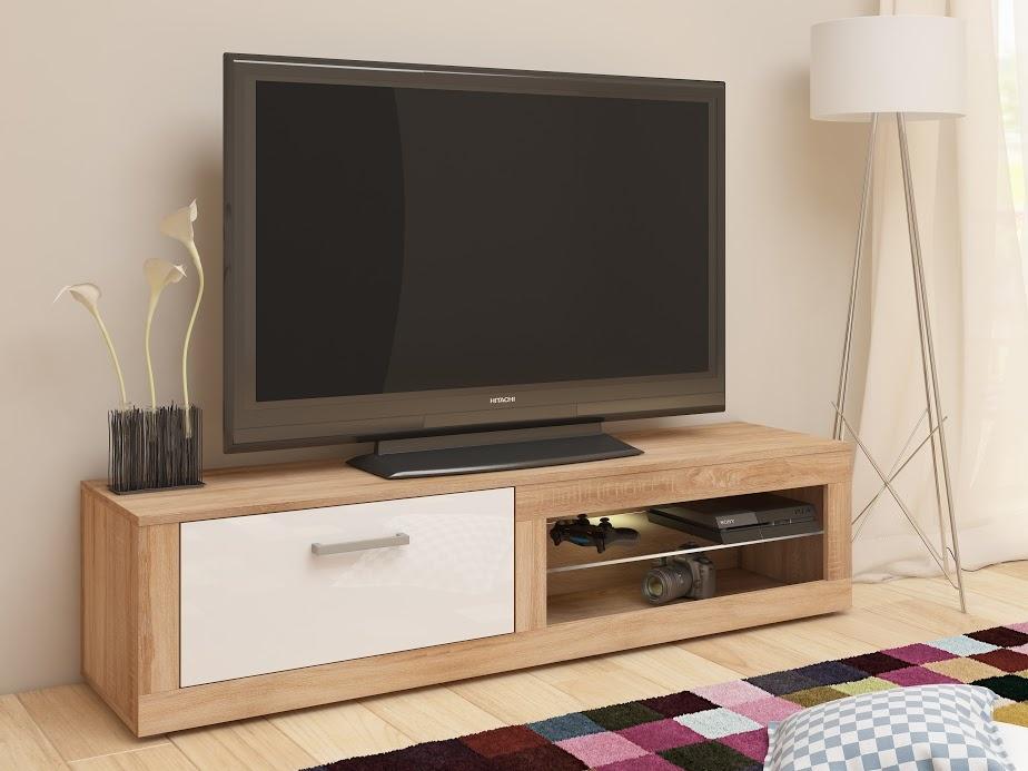 TV stolek VIKY NEW, dub sonoma/bílý lesk