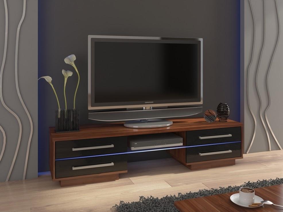 MORAVIA FLAT TV stolek LAGUNA, švestka wallis/černý lesk