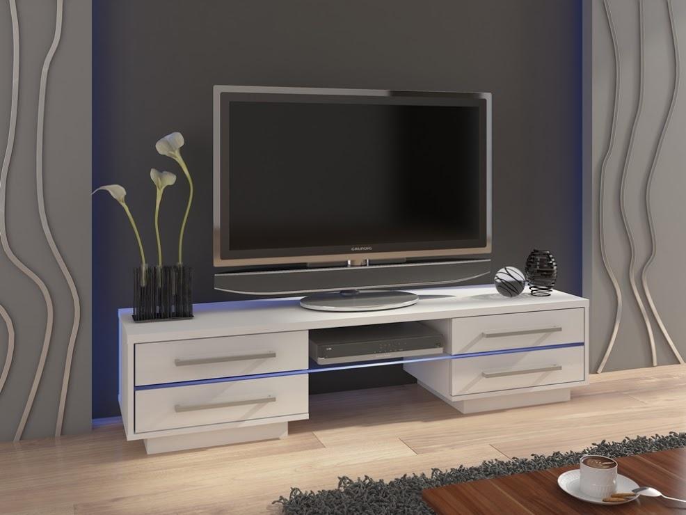 MORAVIA FLAT TV stolek LAGUNA, bílá/bílý lesk