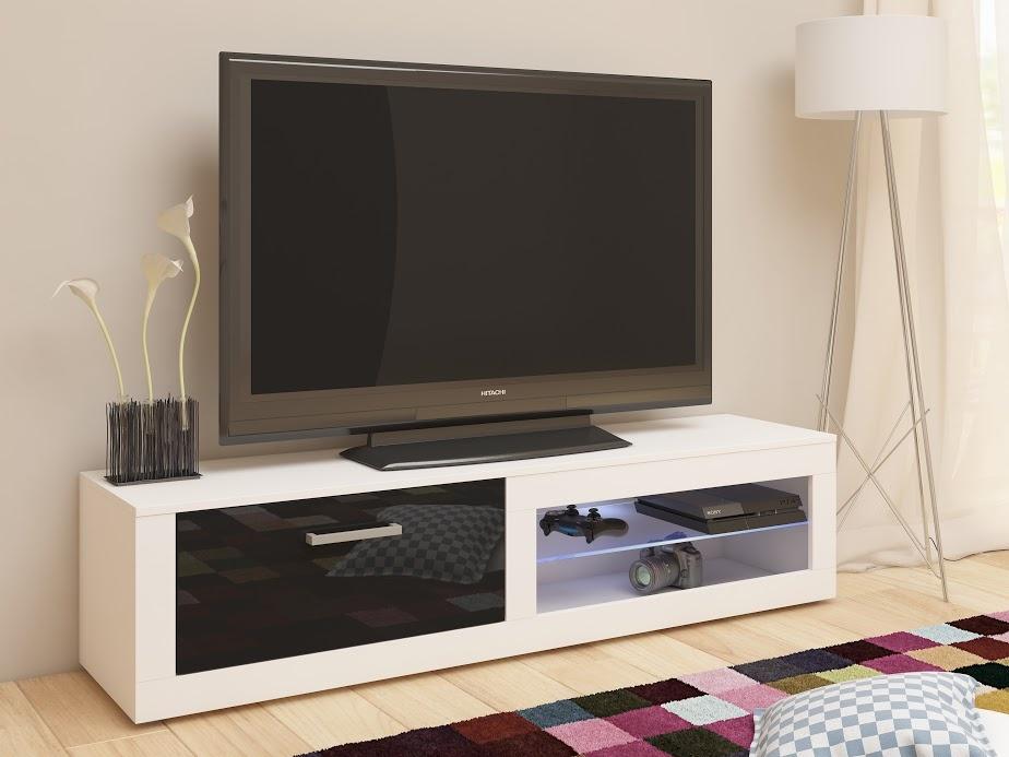 MORAVIA FLAT TV stolek VIKY NEW, bílá/černý lesk