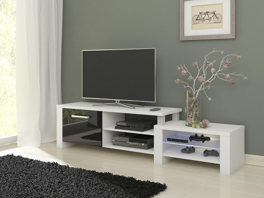 MORAVIA FLAT TV stolek ORION, bílá/černý lesk