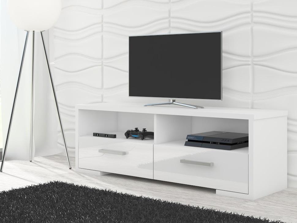 MORAVIA FLAT TV stolek ROMA, bílá/bílý lesk