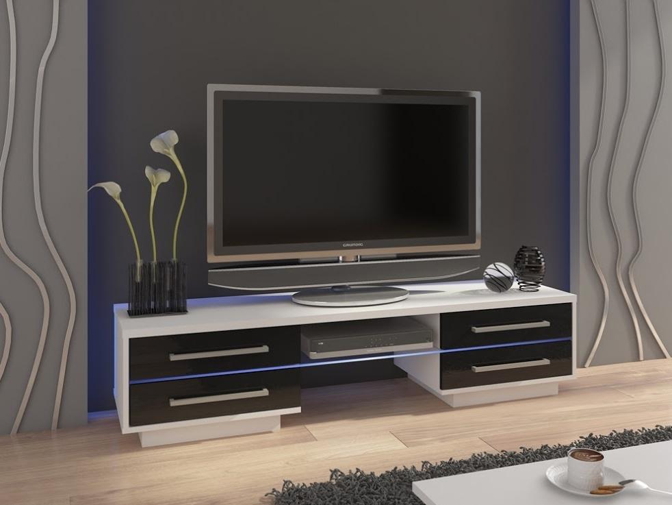 MORAVIA FLAT TV stolek LAGUNA, bílá/černý lesk