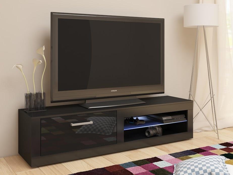 MORAVIA FLAT TV stolek VIKY NEW, černá/černý lesk