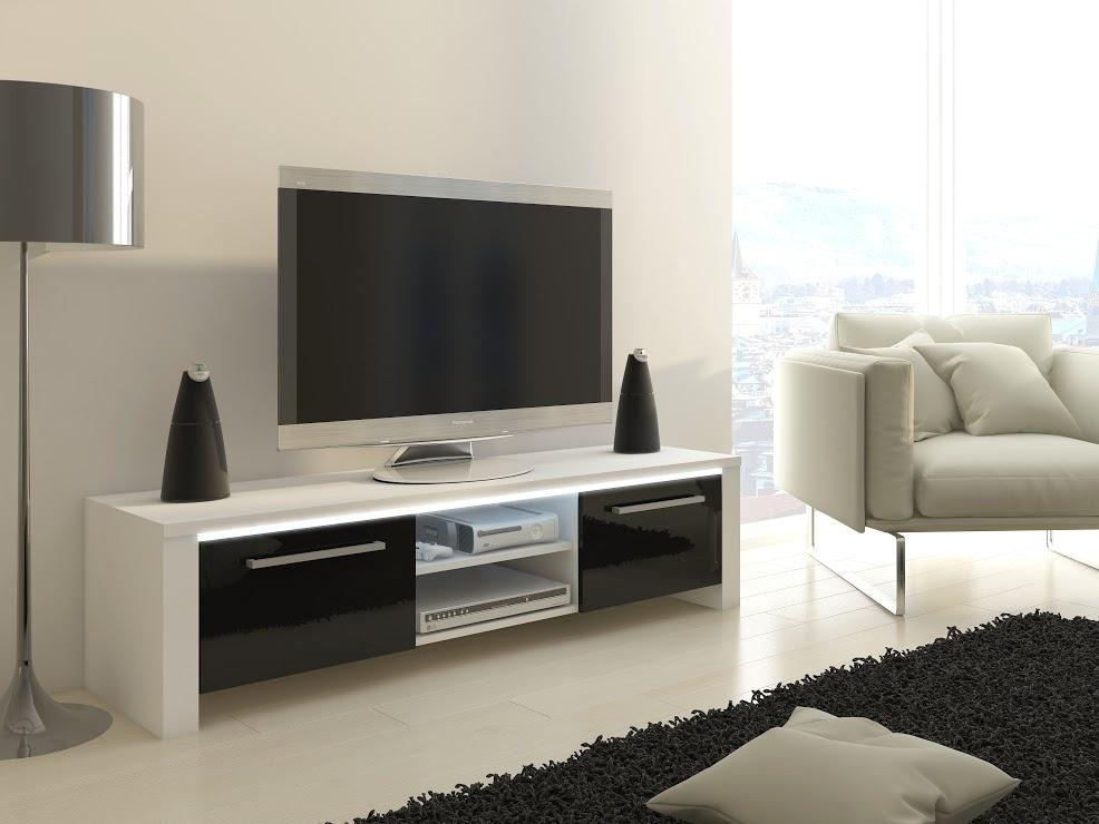 MORAVIA FLAT TV stolek HELIX, bílá/černý lesk