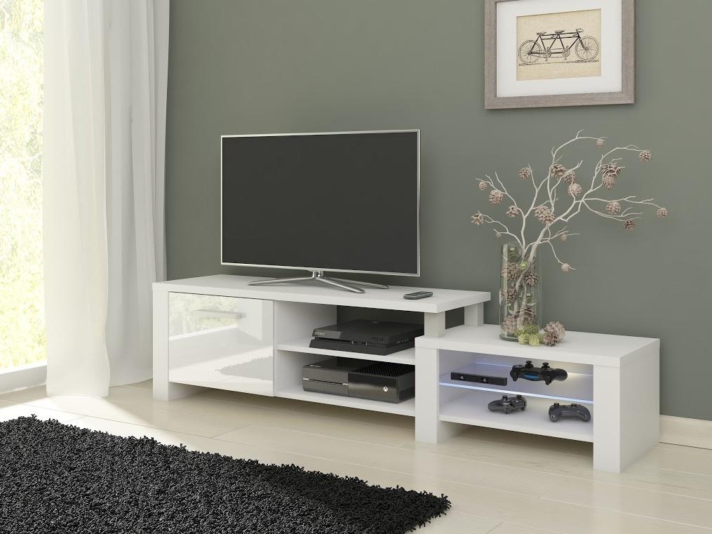 MORAVIA FLAT TV stolek ORION, bílá/bílý lesk
