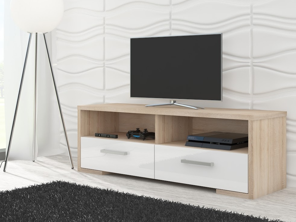 TV stolek ROMA, dub sonoma/bílý lesk
