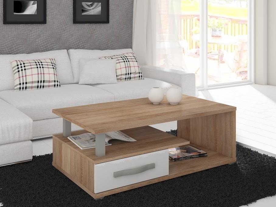 MORAVIA FLAT ANGEL konferenční stolek, dub sonoma/bílý lesk