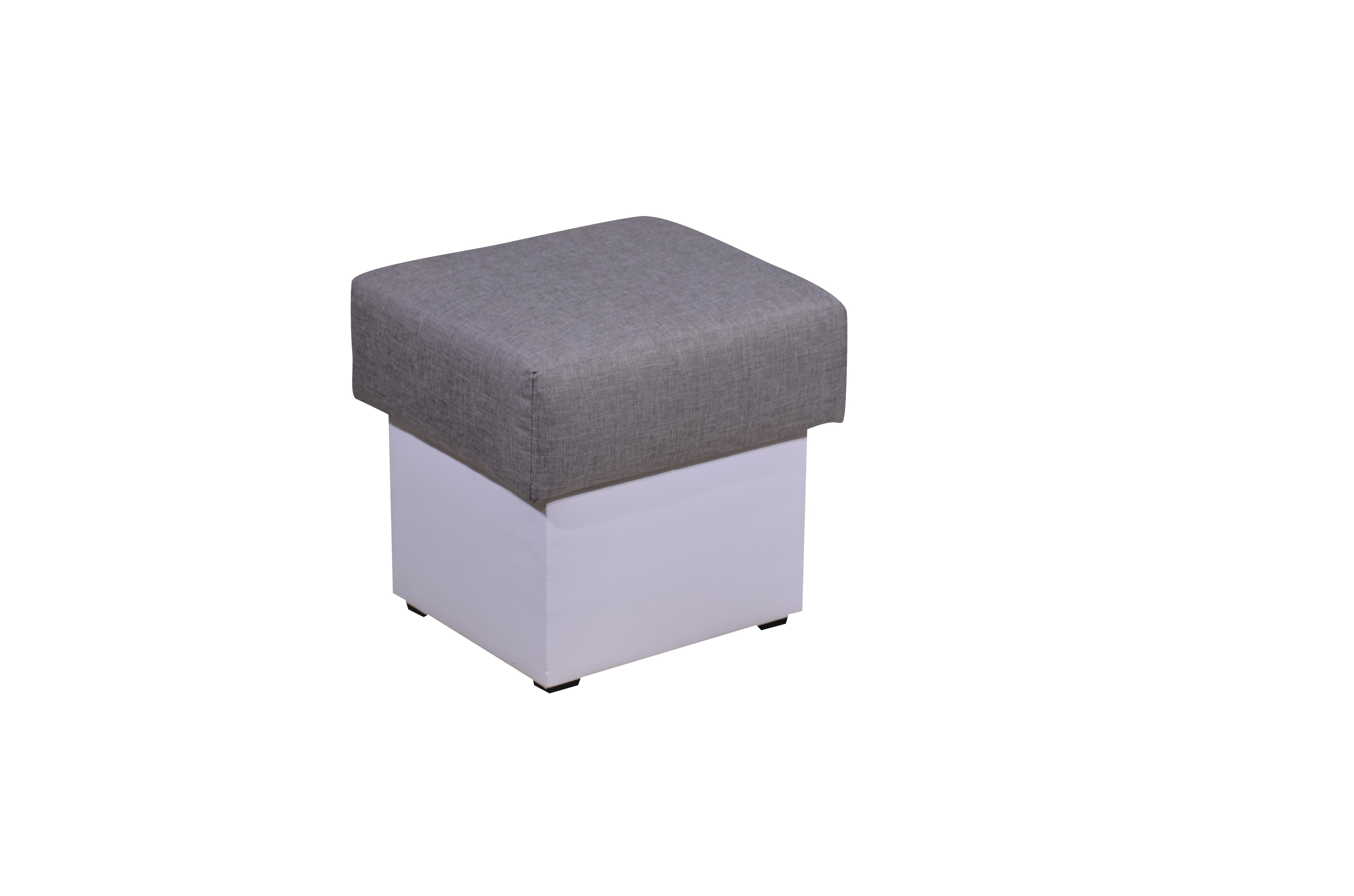 Smartshop Taburet TOMINO látka šedá/bílá ekokůže DOPRODEJ