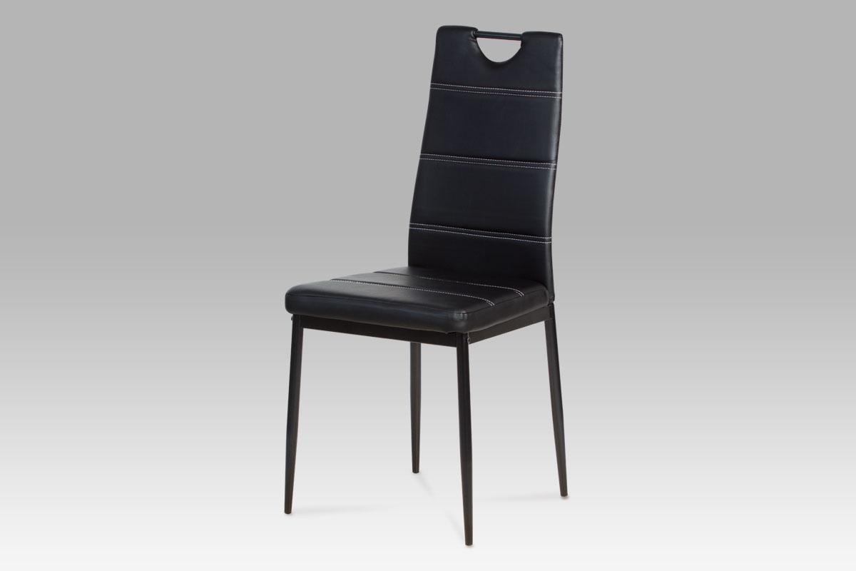 Smartshop Jídelní židle, koženka černá / černý lak ZAC-1220 BK