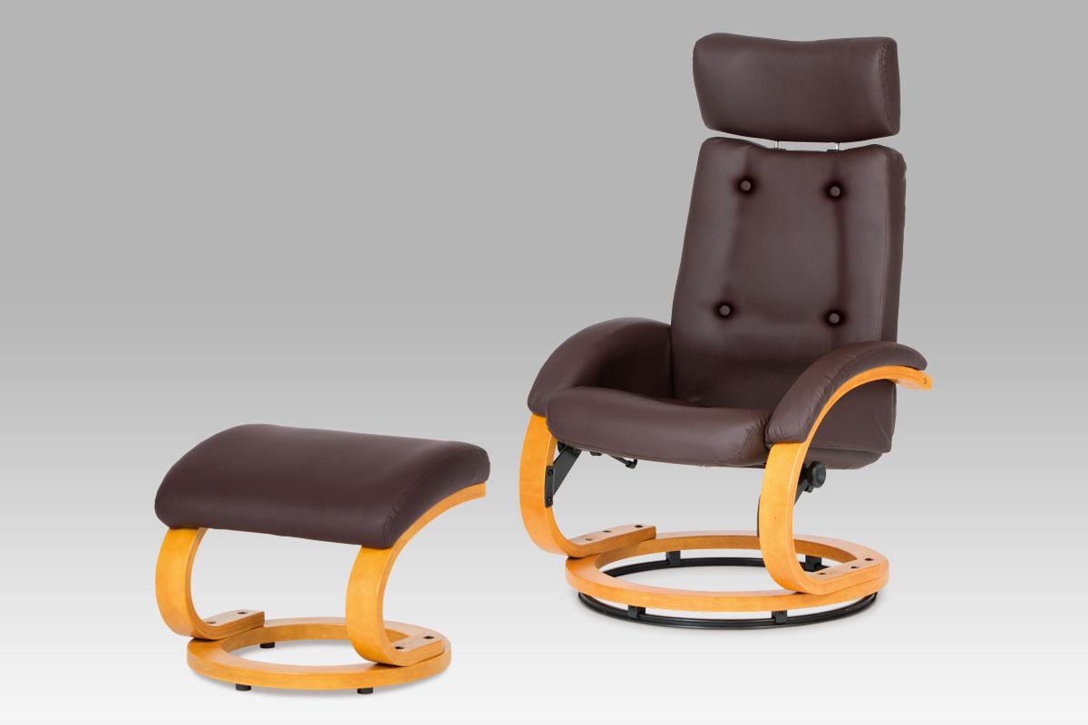 Autronic Relaxační křeslo, koženka hnědá / buk BT-668 BR
