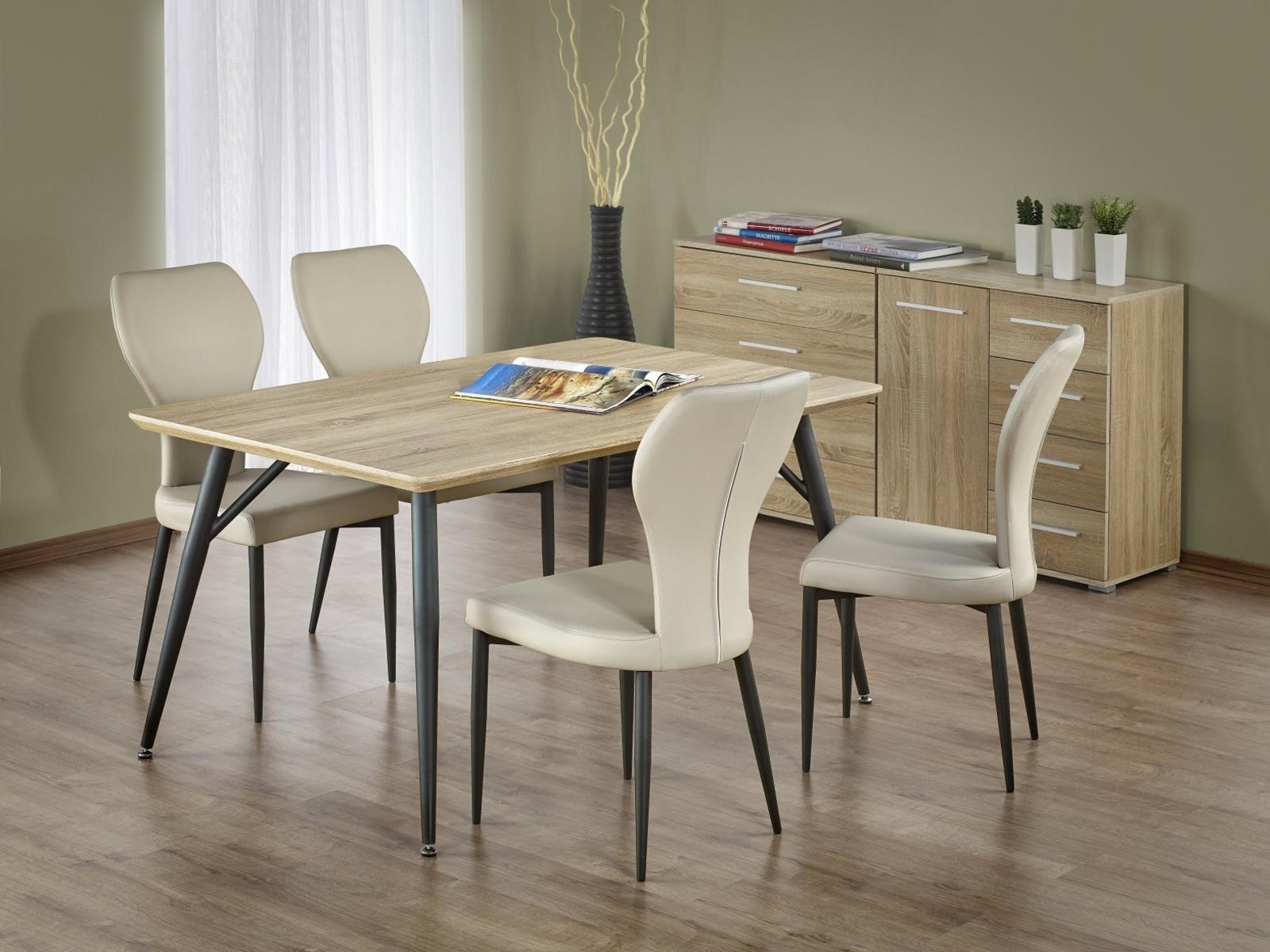 Halmar FABIO jídelní stůl, dub sonoma/černá