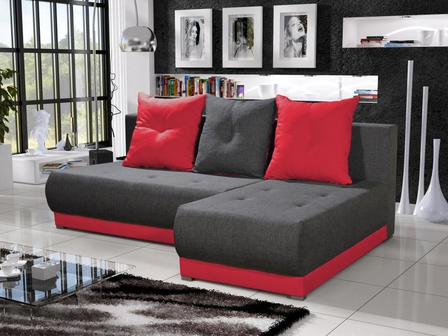 Smartshop Rohová sedačka INSIGNIA 17, šedá/červená